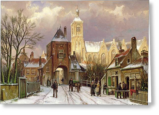 Horse And Cart Greeting Cards - Winter Scene In Amsterdam Greeting Card by Willem Koekkoek