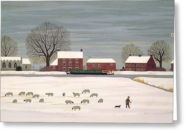 Barges Greeting Cards Greeting Cards - Winter Scene in Lincolnshire Greeting Card by Vincent Haddelsey