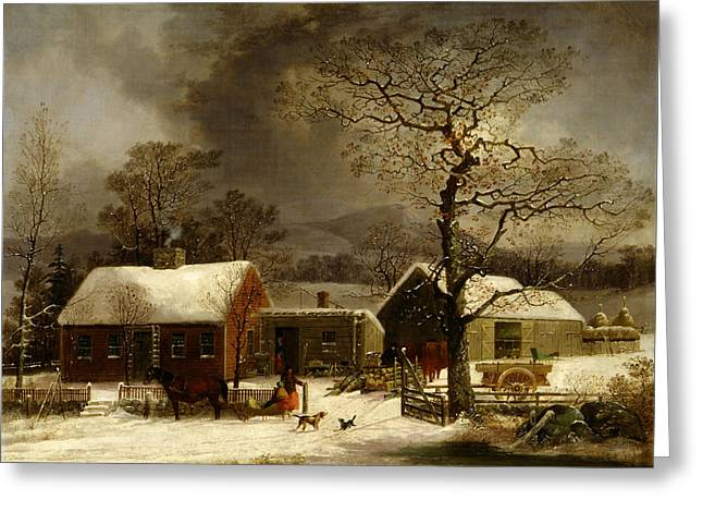 Sled.fence Greeting Cards - Winter Scene in New Haven Connecticut 1858 by Durrie Greeting Card by Movie Poster Prints