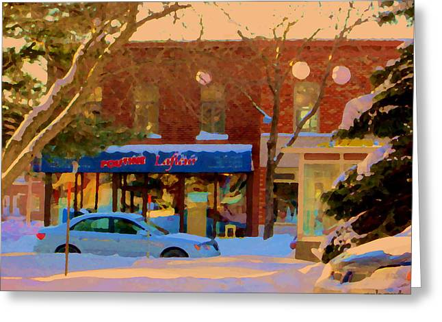 Verdun Restaurants Greeting Cards - Winter Scene In Verdun Poutine Lafleur Rue Wellington Snowy Day In Montreal Carole Spandau Greeting Card by Carole Spandau