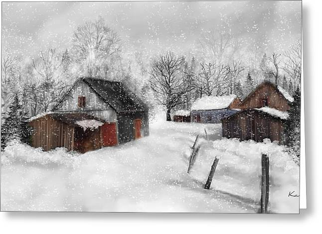 Ferme Greeting Cards - Winter scene Greeting Card by Johanne Dauphinais