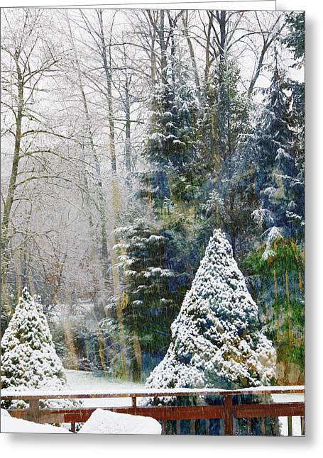Evergreen With Snow Greeting Cards - Winter Scene Greeting Card by John Fish