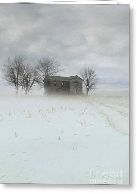 Rural Digital Art Greeting Cards - Winter scene of a farmhouse/Digital Painting Greeting Card by Sandra Cunningham
