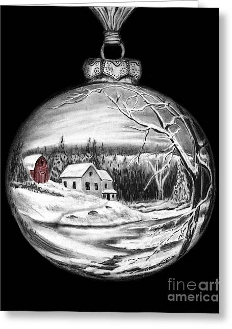 White River Scene Drawings Greeting Cards - Winter Scene Ornament Red Barn  Greeting Card by Peter Piatt