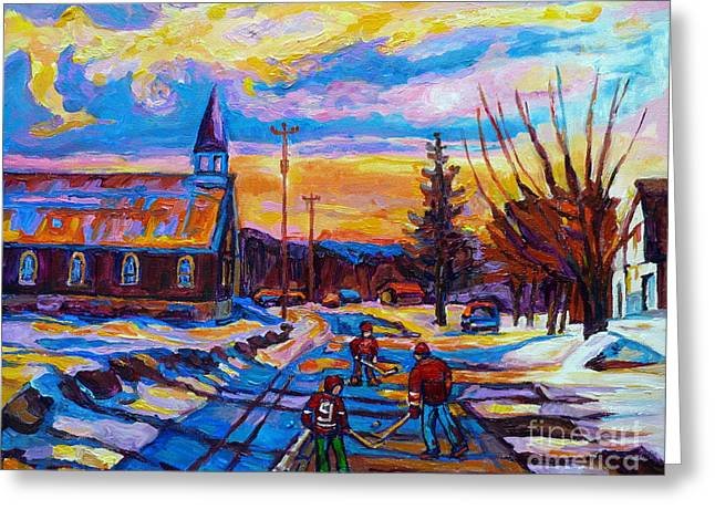 Hockey Paintings Greeting Cards - Winter Scene Painting-hockey Game In The Village-rural Hockey Scene Greeting Card by Carole Spandau