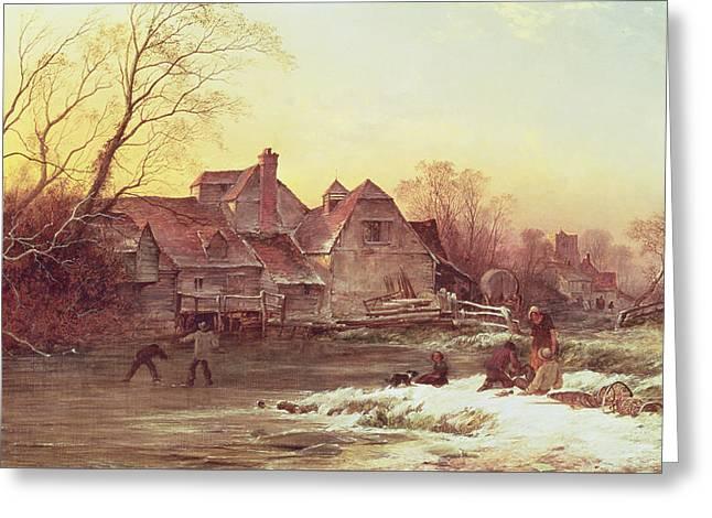 Winter Scene Greeting Card by Philips Wouwermans or Wouwerman