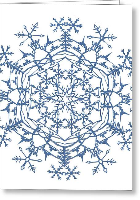 Winter Tapestries - Textiles Greeting Cards - Winter Scene Snowflake Greeting Card by Eric Fronapfel