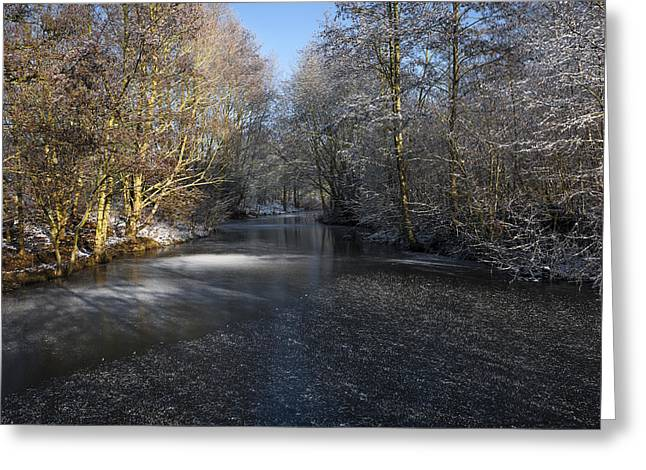 Snowy Stream Greeting Cards - Winter Scene Greeting Card by Svetlana Sewell