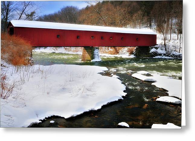 Iconic Places Greeting Cards - Winter Scene-West Cornwall Covered Bridge Greeting Card by Thomas Schoeller