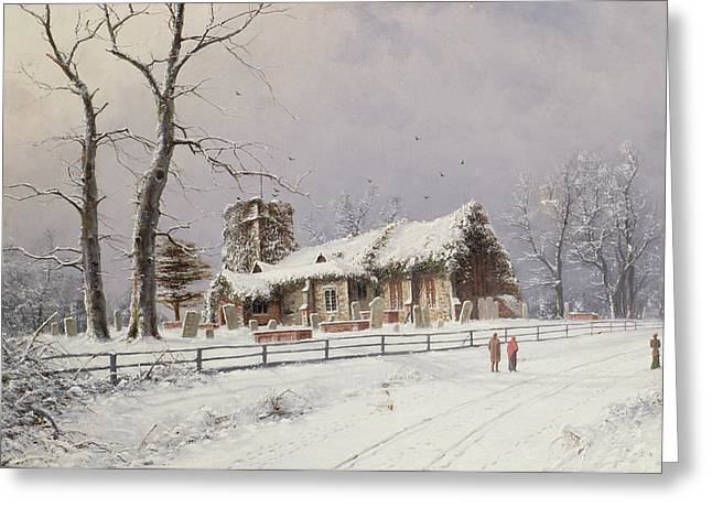 Nils Greeting Cards - Winter Scene with Figures on a Path near a Church Greeting Card by Nils Hans Christiansen