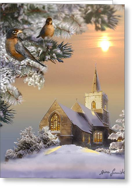 Inspirational Wildlife Prints Greeting Cards - Winter scene with robins and church   Greeting Card by Gina Femrite