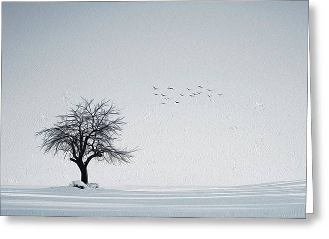 Alone Greeting Cards - Winter scenery Greeting Card by Bess Hamiti
