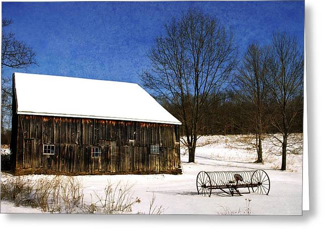 Wooden Building Greeting Cards - Winter Scenic Farm Greeting Card by Christina Rollo