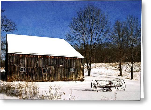 Winter Scenic Farm Greeting Card by Christina Rollo