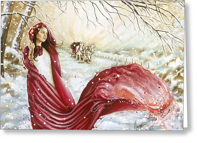 Expressionist Girl Greeting Cards - Winter Scent Greeting Card by Karina Llergo Salto
