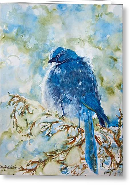 Bokeh Paintings Greeting Cards - Winter Scrub Jay on Juniper Greeting Card by CheyAnne Sexton