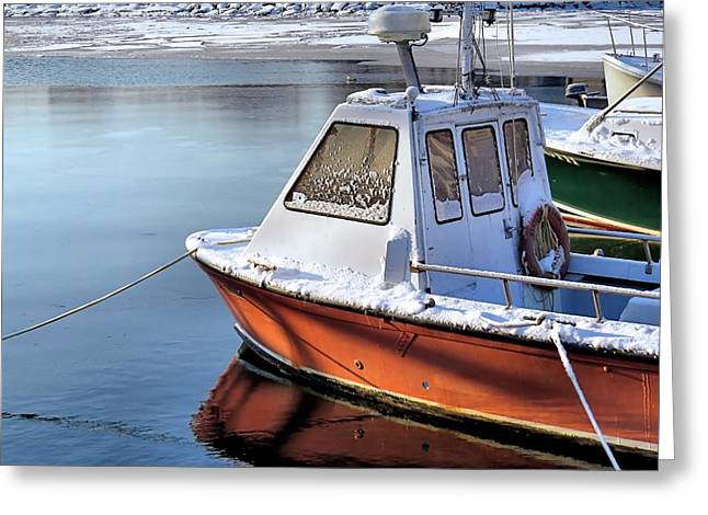 Boats At Dock Greeting Cards - Winter Seaside Greeting Card by Janice Drew