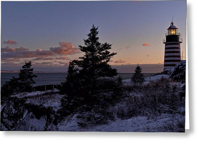 West Quoddy Head Lighthouse Greeting Cards - Winter Sentinel Lighthouse Greeting Card by Marty Saccone