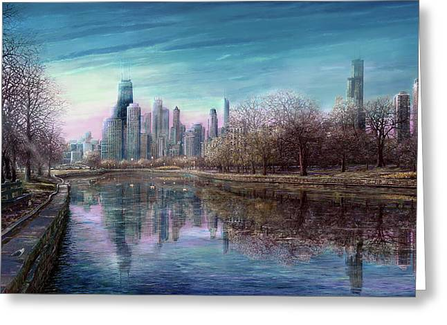 Lincoln Park Lagoon Greeting Cards - Winter Serenity Deep Greeting Card by Doug Kreuger