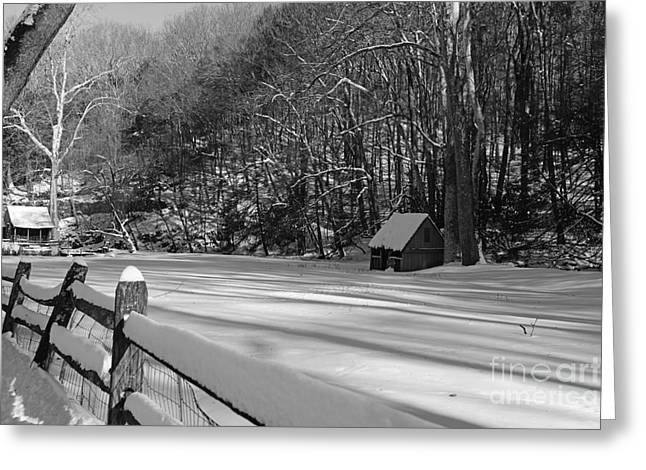 Snow Scene Landscape Greeting Cards - Winter Shack in Black and White Greeting Card by Paul Ward