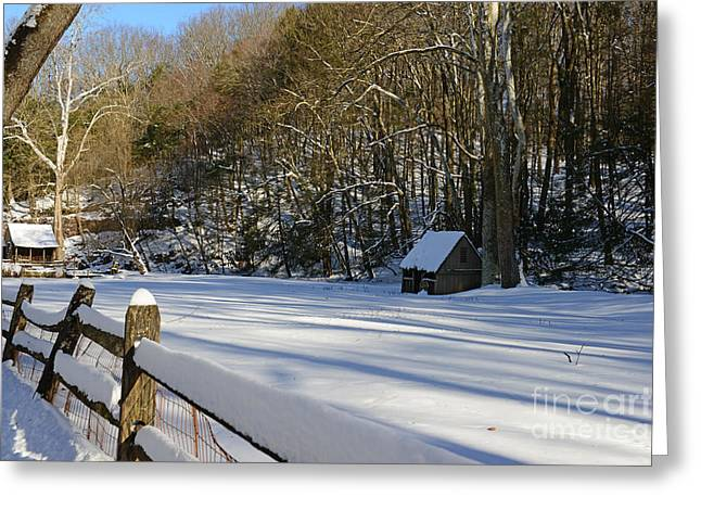 Snow Scene Landscape Greeting Cards - Winter Shack Greeting Card by Paul Ward