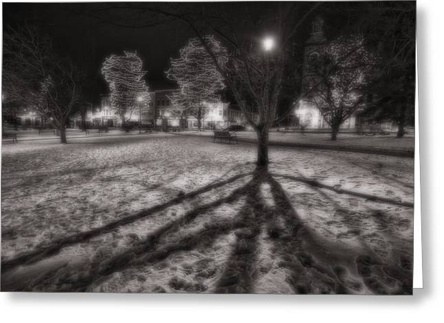 Winter Shadows And Xmas Lights Greeting Card by Sven Brogren