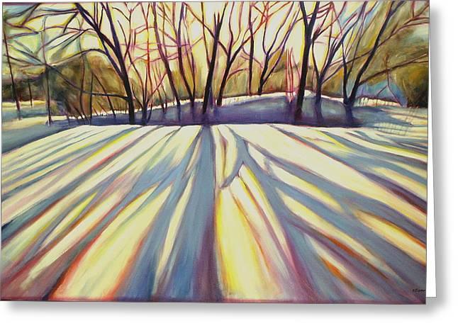 Sheila Diemert Paintings Greeting Cards - Winter Shadows Greeting Card by Sheila Diemert