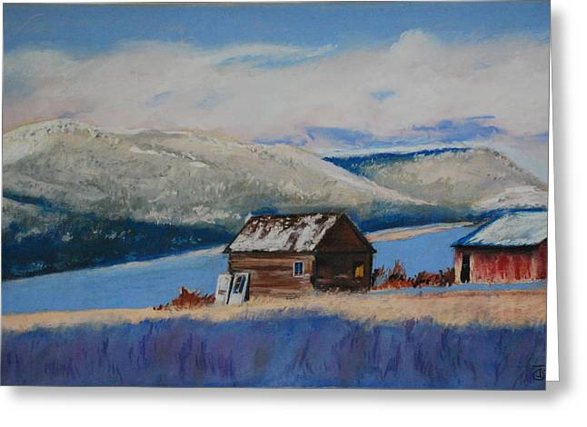 Sheds Pastels Greeting Cards - Winter Sheds Greeting Card by Tom Garfield