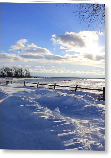 Snow Drifts Digital Art Greeting Cards - Winter Shore Greeting Card by Bill Robinson