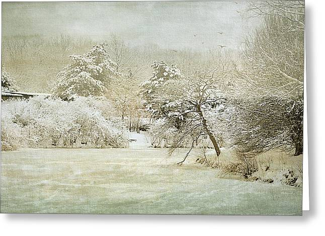 Garden Scene Digital Art Greeting Cards - Winter Silence Greeting Card by Julie Palencia