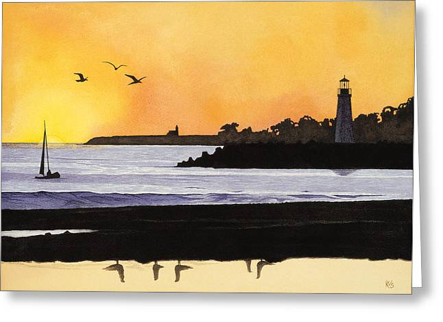 Santa Cruz Sailboat Greeting Cards - Winter Silhouette Santa Cruz Greeting Card by Kerry Van Stockum