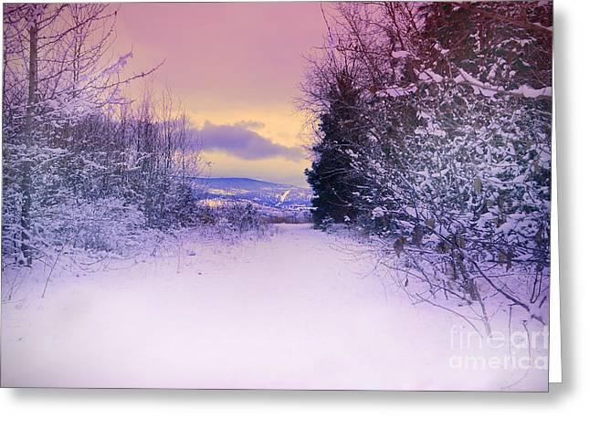 Mountain Road Greeting Cards - Winter Skies Greeting Card by Tara Turner