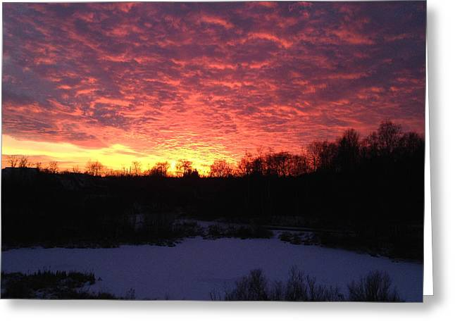 Shades Of Red Greeting Cards - Winter Sky Greeting Card by Christine Rivers