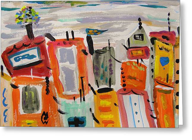 Rooftops Drawings Greeting Cards - Winter Sky Colorful Town Greeting Card by Mary Carol Williams