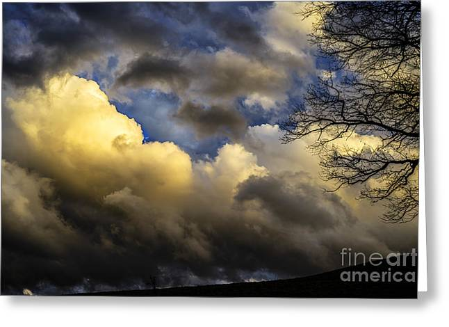 Colorful Cloud Formations Greeting Cards - Winter Sky Drama Greeting Card by Thomas R Fletcher