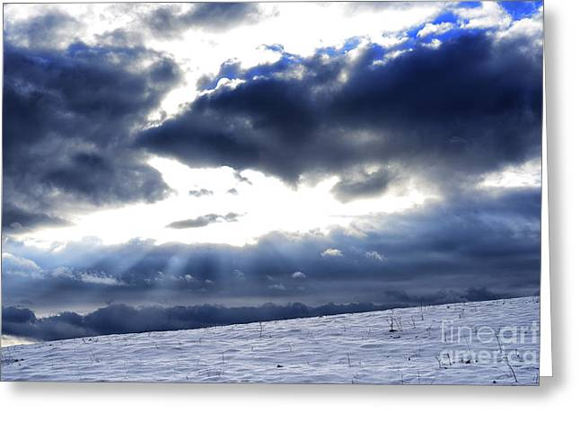Winter Storm Greeting Cards - Winter Sky Greeting Card by Thomas R Fletcher