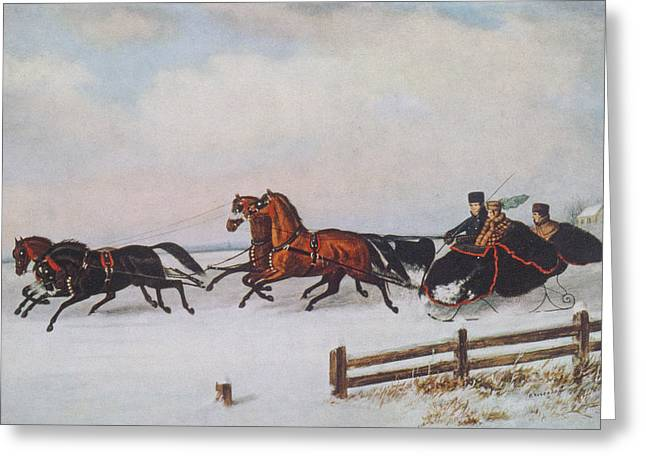 Carriage Greeting Cards - Winter Sleigh Greeting Card by Cornelius Krieghoff