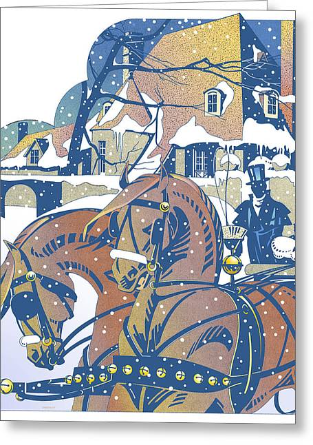 Horse Whip Digital Art Greeting Cards - Winter Sleigh Ride Greeting Card by David Chestnutt
