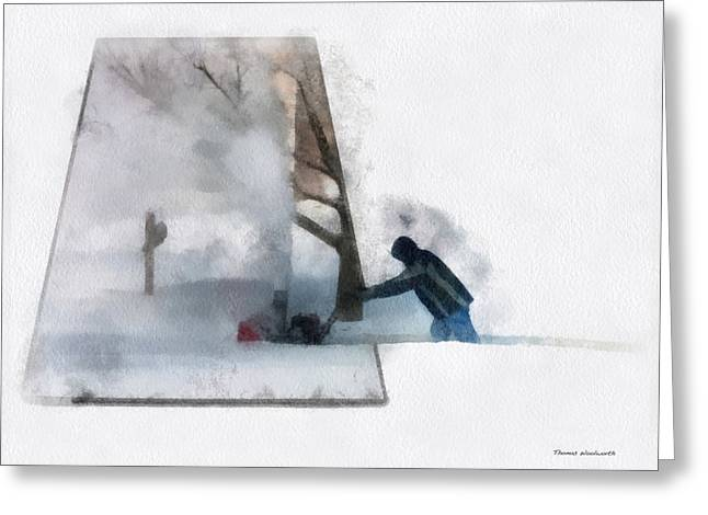 ist Working Photo Digital Greeting Cards - Winter Snow Blower Photo Art Greeting Card by Thomas Woolworth
