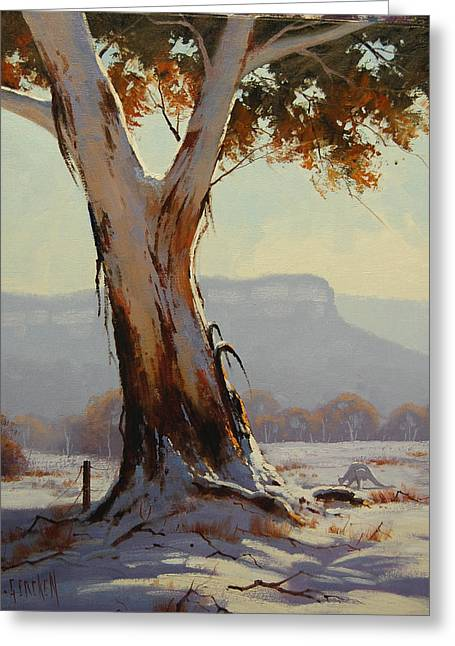 Eucalyptus Tree Greeting Cards - Winter Snow Gum Greeting Card by Graham Gercken
