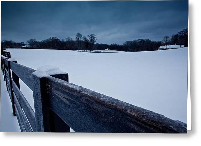 Franklin Farm Greeting Cards - Winter Snow on Farm Greeting Card by John Magyar Photography