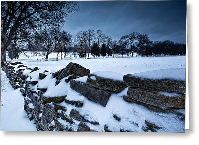 Franklin Farm Greeting Cards - Winter Snow on Slave Wall Greeting Card by John Magyar Photography