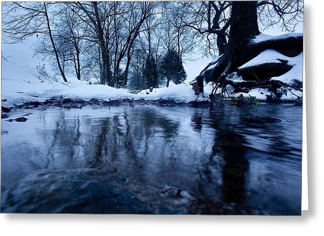 Franklin Farm Greeting Cards - Winter Snow on Stream Greeting Card by John Magyar Photography