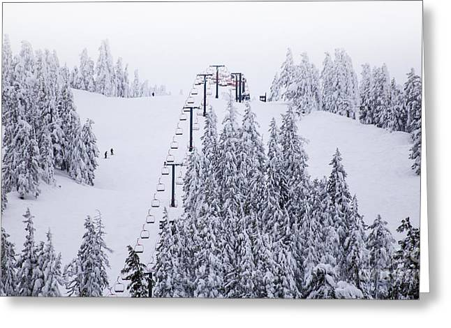 Fine Art Skiing Prints Greeting Cards - Winter Snow Ski Down The Mountain Red Chairlift To The Top Greeting Card by Jerry Cowart