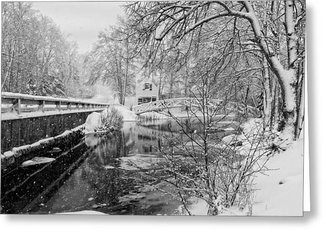 Snowstorm Digital Art Greeting Cards - Winter Snow Storm In Somesville Maine Greeting Card by Keith Webber Jr