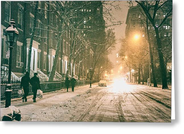 Snowy Night Greeting Cards - Winter - Snow - Washington Square - New York City Greeting Card by Vivienne Gucwa