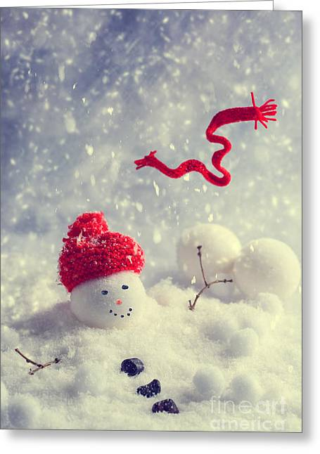 Blowing Snow Greeting Cards - Winter Snowman Greeting Card by Amanda And Christopher Elwell