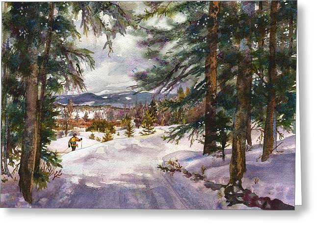 Snow Scenes Greeting Cards - Winter Solace Greeting Card by Anne Gifford