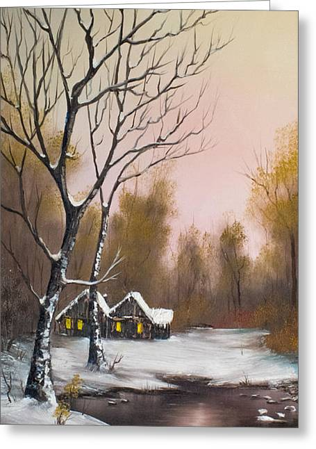 Bob Ross Paintings Greeting Cards - Winter Solace Greeting Card by C Steele