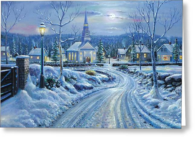 Snowy Night Mixed Media Greeting Cards - Winter Solitude Greeting Card by Raymond Sipos